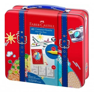 FABER CASTELL CONNECTOR MARKERS SET 40 COLOURS CASE